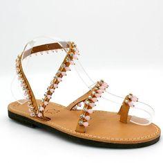 2fdac4f280a97b Rhinestone embellished pink sandals