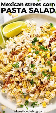 This Mexican Street Corn Pasta Salad is loaded with corn, cotija and a deliciously tangy, creamy dressing that is the st Mexican Food Recipes, Vegetarian Recipes, Dinner Recipes, Cooking Recipes, Healthy Recipes, New Recipes, Vegetarian Pasta Salad, Recipies, Healthy Pasta Salad