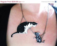 Sale Christmas In July Cat Black and White with Mouse Necklace Image Jewelry on Etsy, $23.20
