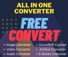 Find all in one video converter, document, images, audios, pdfs, ebooks, software and much more. Online Converter, First Video, All In One, Software, Ebooks, Free, Image