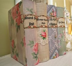 DIY vintage wallpaper covered book box
