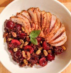 Black cherry, quinoa, pistachio and chicken breast salad