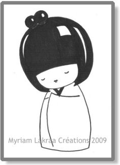 KOKESHI dessin au feutre (pencil drawing) - 2009 - Myriam Lakraa Créations (Strasbourg - France)