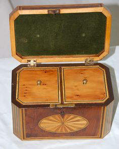 Interior view, English Georgian Yew Tea Caddy with Fan Inlay - The Farm Antiques, Wells Maine