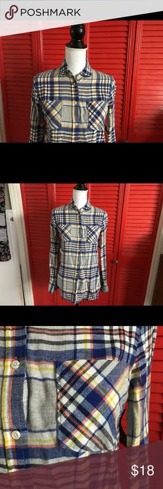 < NWT Merona Flannel > Brand new with tags! Colors include blue, grey, yellow, orange, and white. Gorgeous flannel, just too small for me! This would make a great addition to anyone's winter closet! ❄️ Merona Tops Button Down Shirts