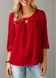 Three Quarter Sleeve Laser Cut Out Red Blouse | Rosewe.com - USD $31.40