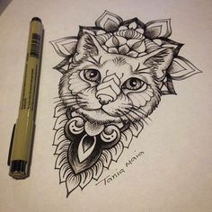 Risultati immagini per cat geometric tattoo dotwork color