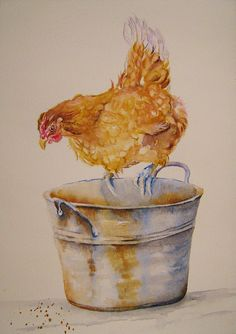 Hen Painting - Chicken Feed by Debra Hall Chicken Drawing, Chicken Painting, Chicken Art, Chicken Feed, Watercolor Bird, Watercolor Animals, Watercolor Paintings, Watercolors, Rooster Painting
