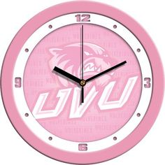 NCAA Utah Valley Wolverines Pink Wall Clock