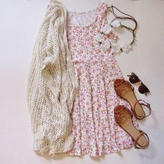 A perfect cute outfit for the summer/spring. Floral dress | cream cardigan | brown sandals | flower crown | sunglasses