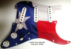 """THIS IS A FULLY LOADED, WIRED, AND READY TO INSTALL SINGLE / SINGLE / SINGLE """"LONE STAR STATE"""" PICKGUARD FOR FENDER STRAT. THE PICKUPS ARE FENDER TEXAS SPECIALS.Loaded Pickguard #3384.The wiring includes one volume and two tone controls, high quality Vintage CTS 250K pots, and a Fender 5 way selector switch.Also included is a push pull switch in the center knob position which links together the Bridge and Neck pickups. This makes possible the following pickup selections:Bridge onlyBridge and…"""