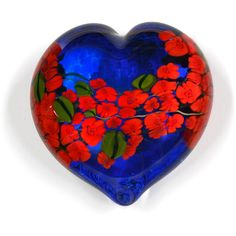 Shawn Messenger Red Roses Garden Heart on Blue Art Glass Paperweight (125 CAD) ❤ liked on Polyvore featuring home, home decor, office accessories, heart shaped paperweight, rose paperweight, blue paperweight, heart paperweight and art glass paperweight