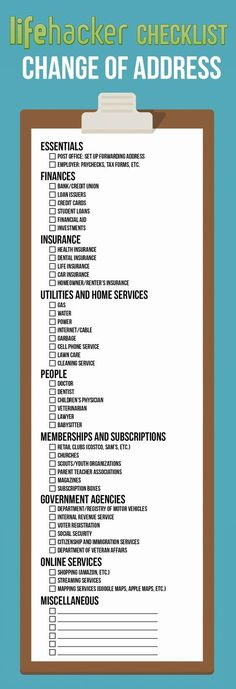 Your Address Everywhere On This Printable Checklist When You Move Your Address Everywhere On This Printable Checklist When You Move Free Printable: A Change of Address Checklist More Moving Checklist . Moving Day, Moving Tips, Moving Hacks, Moving Out List, Moving Check Lists, Moving House Tips, Info Board, 1000 Lifehacks, Move On Up