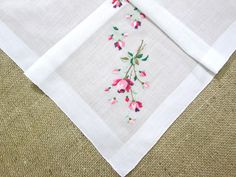 Pink Roses Handkerchief Swiss Embroidered Hankie by VintageLinens