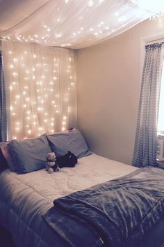 Abigail's Room DIY light canopy: Materials: 63 inch 2 panel sheer curtains 2 garden hooks 1 curtain rod (round cylinder) 2 curtain rods that anchor into wall Fairy string lights Dream Rooms, Dream Bedroom, Girls Bedroom, Diy Bedroom, Design Bedroom, Bedroom Curtains, Budget Bedroom, Bedroom Wall, Bedroom 2018