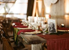 Steampunk table decor. I like the rustic table and rich table cloth (lots of variety). Cool.