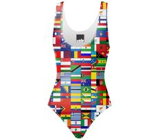 Shop WORLD FLAGS One Piece Swimsuit by THE GRIFFIN PASSANT STREETWEAR (STREETWEAR) | Print All Over Me