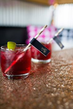 Cocktails with fancy straw flags!