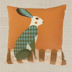 Wildlife Cushion - Hare by Tom Frost/Magpie Gorgeous, fun and quirky gifts for you and your home Hunkydory Home Shabby Chic Cushions, Vintage Cushions, Felt Cushion, Cushion Fabric, Hare Illustration, Illustrator, Handmade Lampshades, Luxury Cushions, Pillows