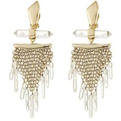 Alexis Bittar Dangling Rock Crystal Mesh Clip Earring (9 950 UAH) ❤ liked on Polyvore featuring jewelry, earrings, gold, clip on earrings, gold tone earrings, mesh jewelry, clip earrings and rock crystal earrings