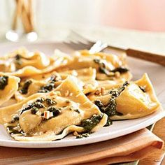Chickpea Ravioli with Basil Pesto and Hazelnuts | MyRecipes.com