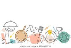 Background with utensils. Continuous line drawing. Cake Logo Design, Food Logo Design, Logo Food, Menu Design, Branding Design, Fruit Illustration, Pattern Illustration, Catering Logo, Kitchen Logo