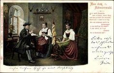Postcard Aus dem Schwarzwald, So e rechti Burestube, Schwarzwälderin am Spinnrad, postally used 1906.