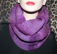 Hand made knitted women cowl hood infinity scarf neck warmer snood shawl purple  £15.00