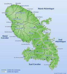 Carte de Martinique / Située au cœur de l'archipel Caraïbe, la Martinique fait partie des petites Antilles. Elle se situe à 7500 Km de Paris et à 120 km de la Guadeloupe.