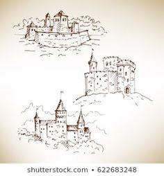 Imagens, fotos stock e vetores similares de Hand drawn St. Stephen's Basilica in Budapest. Castle Illustration, Illustration Sketches, Hour Glass Tattoo Design, Castle Sketch, Hand Sketch, Medieval Castle, Shirt Ideas, Diy Art, Bujo