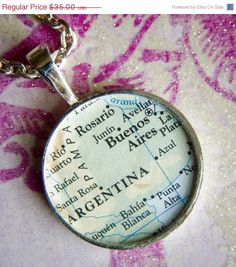 Buenos Aires Argentina Map Necklace via Etsy