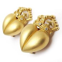 Barry Kieselstein Cord Diamond Trim Heart Crown Earrings Solid 18K Gold   Only one available  $2,499.00