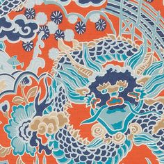 Imperial Dragon Fabric A Far East inspired printed fabric with a grand Chinoiserie dragon design, shown in coral and turquoise.