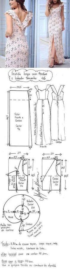 DIY – molde, corte e costura – Marlene Mukai. Vestido longo com fenda e babado no decote. Esquema de modelagem de vestido longo com fenda e babado no decote do tamanho 36 ao 56.