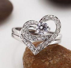 Unique Double Heart Promise Rings