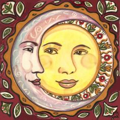 Sun and Moon Tile Plaque designed by Marlene L'Abbé, available at tilemeastory.etsy.com for $25.