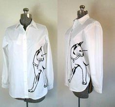 Black Cat White Shirt / Vintage 1980s by rileybellavintage on Etsy