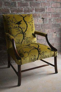 Dinning Room -upholstery for chairs Timorous Beasties Fabric - Birdbranch Stripe Velvet Sofa Chair, Chair Cushions, Timorous Beasties, Painted Chairs, Funky Furniture, Furniture Ideas, Milan Furniture, Western Furniture, Garden Furniture