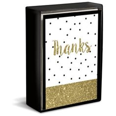 """Dipped Glitz 3"""" x 4"""" Folded Notes by Graphique de France. Send a special thanks with these glittery Thank You cards. 16 cards & envelopes. $10.00"""
