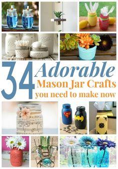 34 Adorable Mason Jar Crafts You Need to Make Now via @simplistcliving