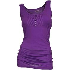 Sophia Button Front Tank In Purple ❤ liked on Polyvore featuring tops, button front tank top, purple tank top, stretchy tops, button front top and stretch tank top