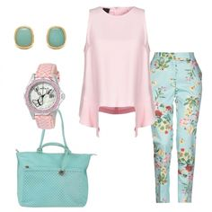 87d42f1125df Pantalone floreale top Pinko  outfit donna Bon Ton per tutti i giorni