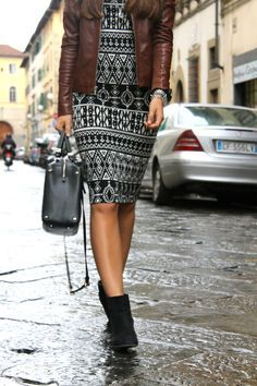 Midi dresses are perfect for fall, pair with a leather jacket and ankle boots!