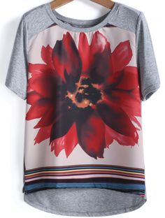Grey Short Sleeve Lotus Print Loose T-Shirt - Sheinside.com