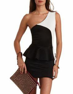 one shoulder color block dress