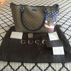 Gucci american flag handbag 100% authentic comes with dust bag and authenticity papers like brand new hardly used please no low balling and I dont trade Gucci Bags Shoulder Bags