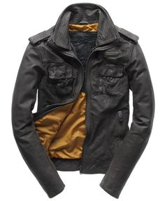 Superdry Ryan Leather Jacket - Men's Leathers