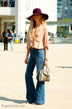 "**I like this. I miss hats** -- Seventies Look, Jeans are so different today_I""ll always love the bell & high waisted sure makes us all look taller and thinner, I think!"