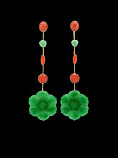 Imperial de Chine: Imperial Jade, Coral & Sapphires Ear Pendants.