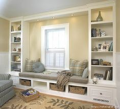 built in bookcase with window seat - upstairs.but could have shelving above window seat. Decor, Home, Home And Living, Interior, House, Window Seat, Home Projects, House Interior, Home Deco